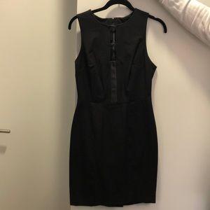 Banana Republic Black Sheath Dress Leather Insert